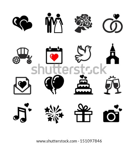 Web icons set. Wedding, bride and groom, love, celebration.