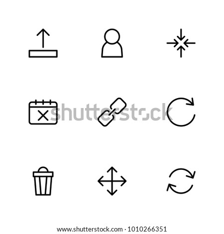 Web icons set with upload, user and refresh elements. Set of web icons and refresh concept. Editable vector elements for logo app UI design.