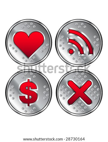 Web icons - shiny, stainless steel industrial buttons