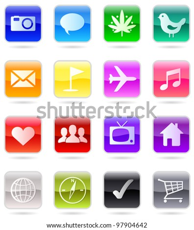 Web icons vector color set, isolated on white