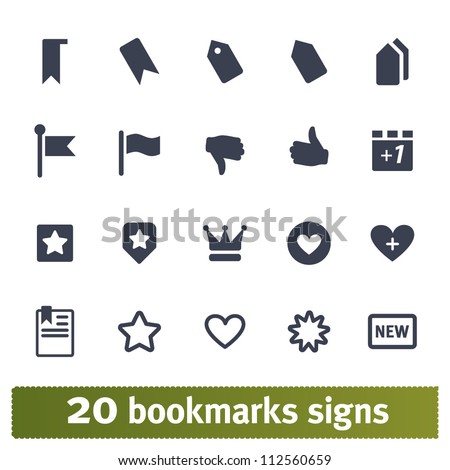 Web icons. Vector set of bookmark, tag, vote signs.