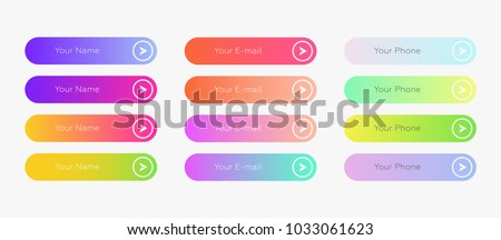Web inputs flat design template with color gradient and thin line outline style. Vector isolated rectangular rounded web page next arrow button elements set on white background. #1033061623