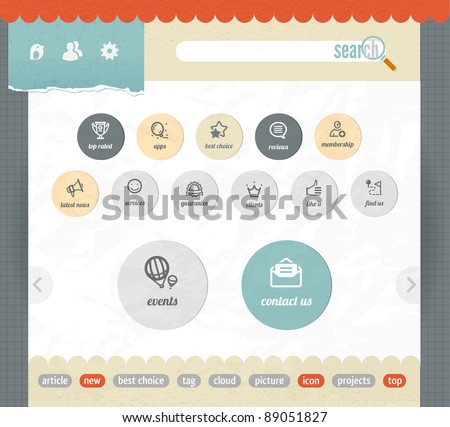 web interface paper template with simple modern icons - stock vector