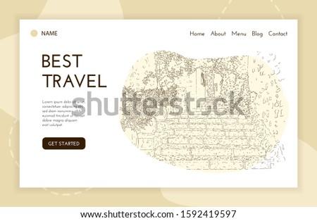 Web landing page template. City sketching. Line art silhouette. Travel banner. Tourism concept. France, Saint-Paul-de-Vence. Sketch style vector illustration.