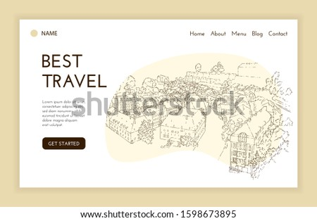 Web landing page template. City sketching. Line art silhouette. Travel cover. Tourism concept. Luxembourg. Sketch style vector illustration.