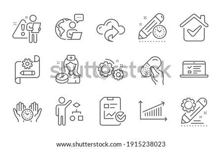 Web lectures, Gears and Capsule pill line icons set. Cloud share, Algorithm and Safe time signs. Project deadline, Nurse and Report checklist symbols. Line icons set. Vector Foto stock ©