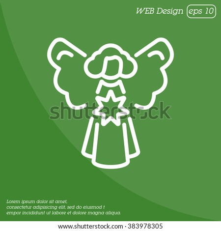 Web line icon. Angel with star, Christmas angel #383978305
