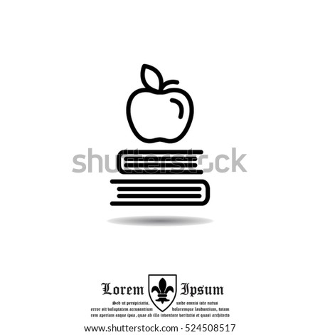 web line icon. apple on books ...
