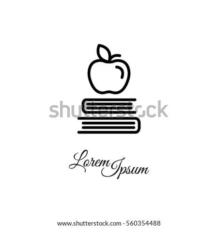 web line icon apple on books