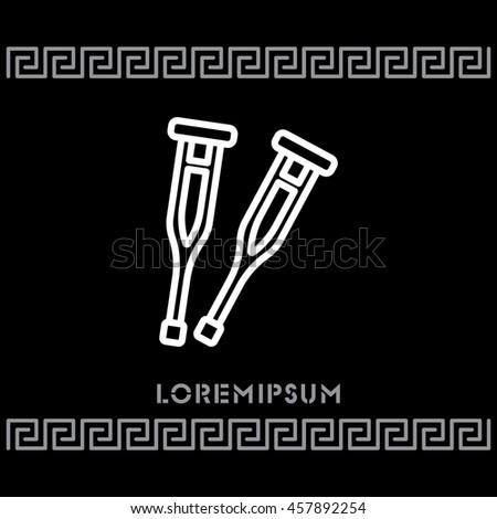 Web line icon. Crutches