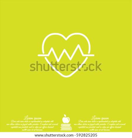 Web line icon. Heart cardiogram, heartbeat