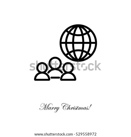 Web line icon. International Business, Group of people and globe