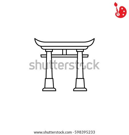 web line icon torii  japan gate