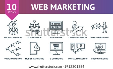 Web Marketing icon set. Collection contain target, direct marketing, focus group, web banner, social campaing and over icons. Web Marketing elements set. Foto stock ©