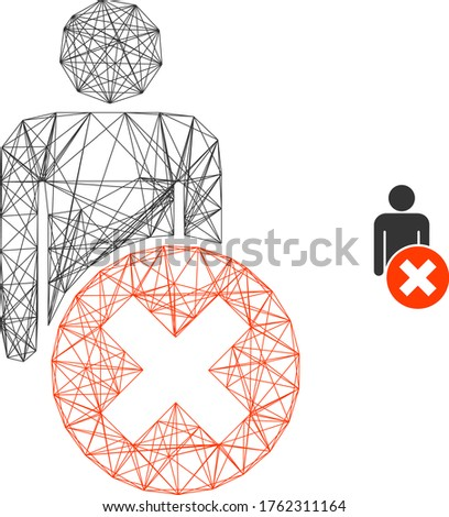 Web mesh delete man vector icon. Flat 2d carcass created from delete man pictogram. Abstract carcass mesh polygonal delete man. Wire carcass flat mesh in eps vector format, on a white background.