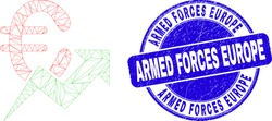 Web mesh euro growing trend pictogram and Armed Forces Europe stamp. Blue vector round distress seal stamp with Armed Forces Europe message.