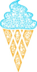 Web mesh icecream vector icon. Flat 2d carcass created from icecream pictogram. Abstract carcass mesh polygonal icecream. Wire carcass flat mesh in eps vector format, on a white background.
