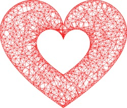 Web mesh love heart vector icon. Flat 2d model created from love heart pictogram. Abstract frame mesh polygonal love heart. Linear frame flat mesh in eps vector format, on a white background.