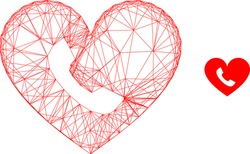 Web mesh phone heart vector icon. Flat 2d carcass created from phone heart pictogram. Abstract carcass mesh polygonal phone heart. Net carcass flat mesh in vector format, on a white background.