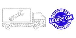 Web mesh repair lorry pictogram and Luxury Car seal stamp. Blue vector round textured seal stamp with Luxury Car message. Abstract mesh polygonal model created from repair lorry icon.