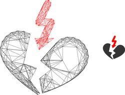 Web mesh vector icon. Flat 2d carcass created from breakup heart pictogram. Abstract carcass mesh polygonal breakup heart. Net carcass 2D mesh in vector format, on a white background.