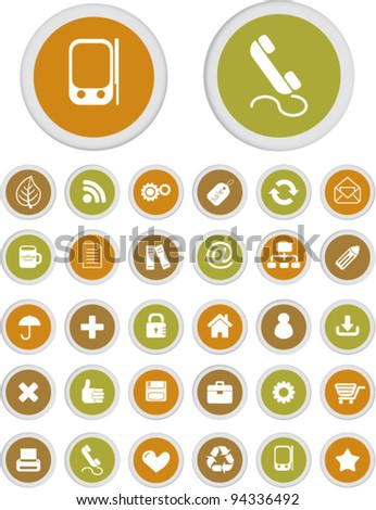 web & mobile apps circle buttons set, vector - stock vector