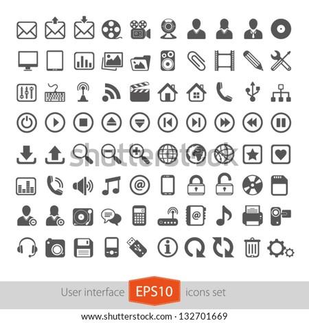 Web multimedia icons set