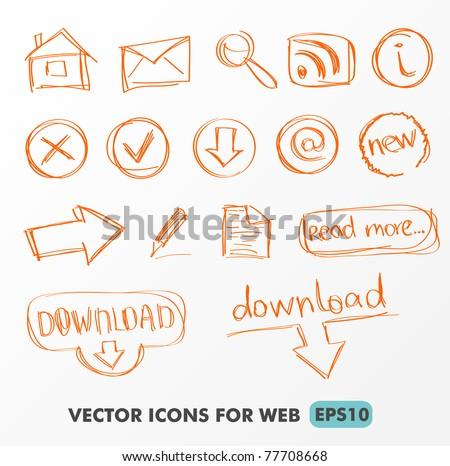 Web Navigation Icons set, hand drawing