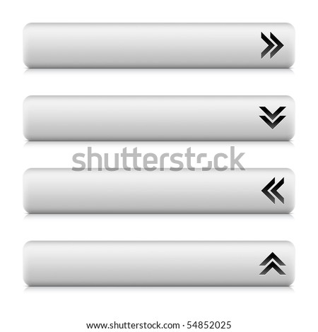 Web 2.0 navigation panel with arrow sign. White stone rounded rectangle shapes with shadow and reflection on white