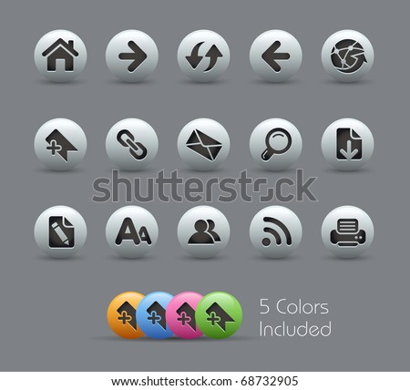 Web Navigation // Pearly Series -------It includes 5 color versions for each icon in different layers ---------