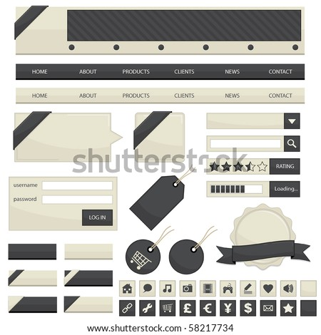 web navigation with buttons, tags and ribbons isolated on white