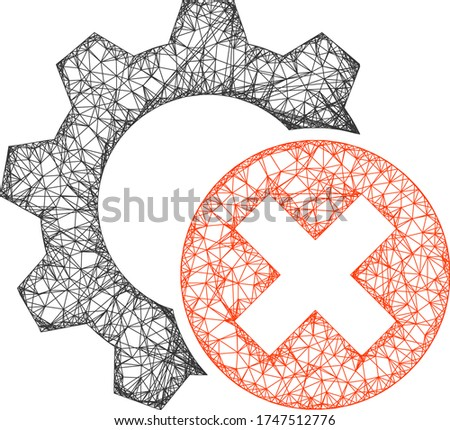 Web net delete settings gear vector icon. Flat 2d carcass created from delete settings gear pictogram. Abstract carcass mesh polygonal delete settings gear. Net carcass flat mesh in vector EPS format,
