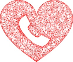 Web net phone heart vector icon. Flat 2d carcass created from phone heart pictogram. Abstract carcass mesh polygonal phone heart. Net carcass 2D mesh in vector format, on a white background.