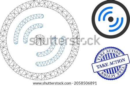 Web network rotor rotation vector icon, and blue round TAKE ACTION unclean stamp seal. TAKE ACTION seal uses round template and blue color. Flat 2d carcass created from rotor rotation pictogram. ストックフォト ©