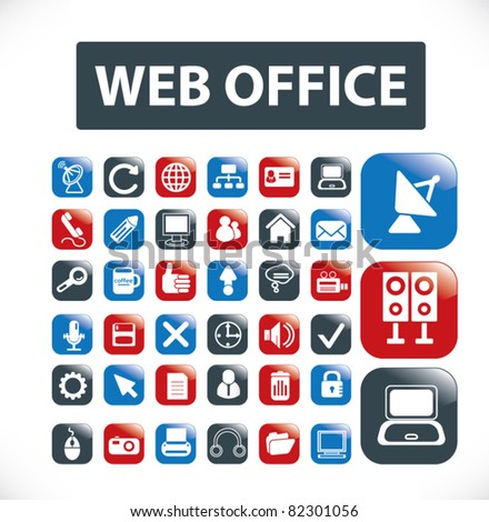 web office buttons, icons, signs, vector illustrations