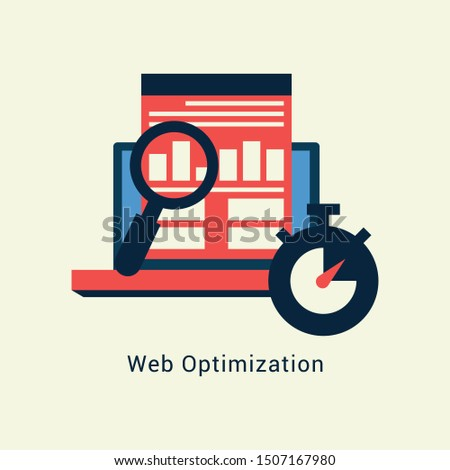 Web Optimization flat design with yellow background-Illustration