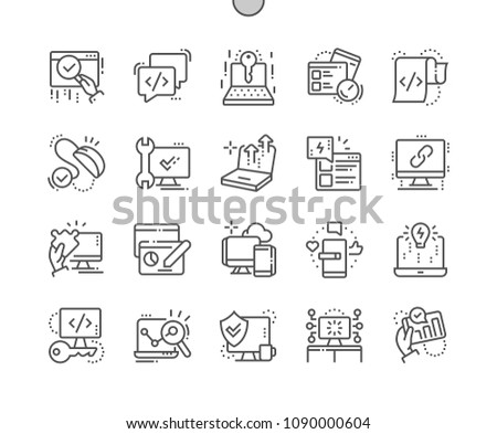 Web optimization Well-crafted Pixel Perfect Vector Thin Line Icons 30 2x Grid for Web Graphics and Apps. Simple Minimal Pictogram