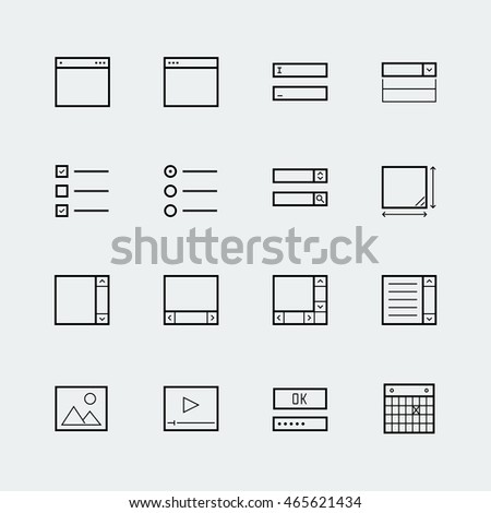 Web or app form elements icon set in thin line style