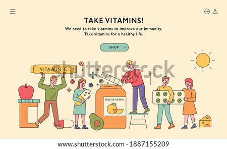 Web page banner promoting vitamins. People are holding large vitamin pills and collecting them in vitamin barrels. Food is decorated around.