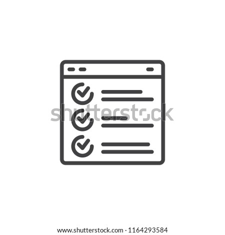 Web page browser report outline icon. linear style sign for mobile concept and web design. Task simple line vector icon. Checklist symbol, logo illustration. Vector graphics
