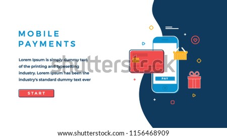 Web Page Design Template for Business, Finance and Marketing. Mobile Payments Business Concept. Modern Vector Illustration Concept for Websites and Sliders