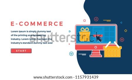 Web Page Design Template for Business, Finance and Marketing. Online Shopping Concept. E-commerce and Shopping Icons Flat Line Art. Modern Vector Illustration Concept for Websites and Sliders