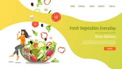 Web page design template for fresh vegetables, organic food, natural products, online food ordering, recipes. Vector illustration for poster, banner, website development.
