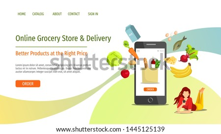 Web page design template for Grocery store, Online Market, Home delivery. Young woman with smartphone and food. Vector illustration for poster, banner, website development.