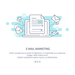 Web page design template of e-mail marketing and news letter advertising. Communication concept, sharing spam, information dissemination, business promotion, sending email in flat layout style.