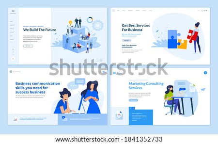 Web page design templates collection of business communication, team, consulting, marketing. Vector illustration concepts for website and mobile website development.
