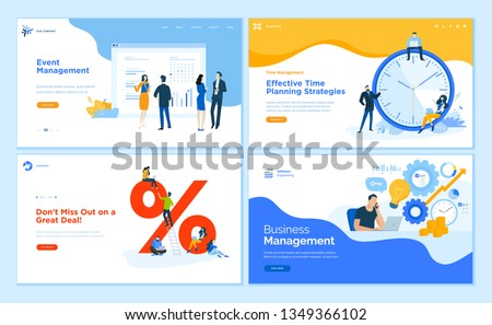 Web page design templates collection of event management, business management, e-commerce, time management. Flat design vector illustration concepts for website and mobile website development.