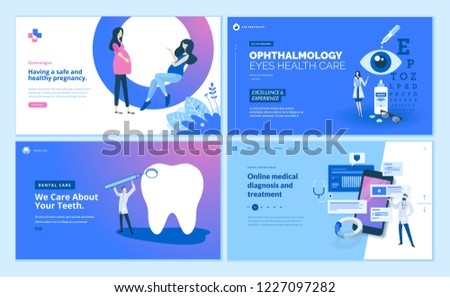 Web page design templates collection of gynecology , ophthalmology, dental care, online medical diagnosis and treatment. Modern vector illustration concepts for website and mobile website development.