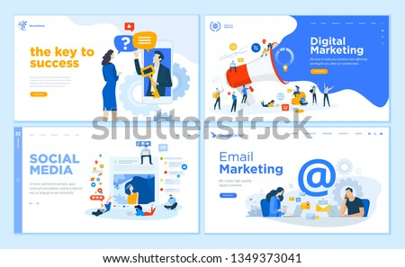 Web page design templates collection of internet marketing, social media, email marketing, online support, modern communication. Flat design vector illustration concepts for website development.