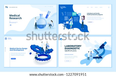 Web page design templates collection of medical research, laboratory diagnostic, medical device development, family health protection. Modern vector illustration concepts for website development.